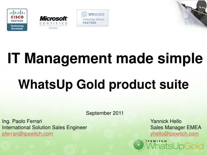 it management made simple whatsup gold product suite n.