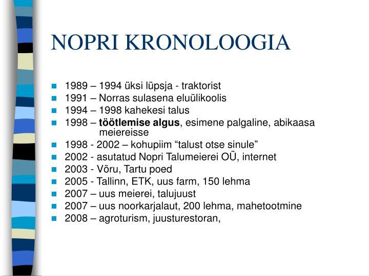 Nopri kronoloogia