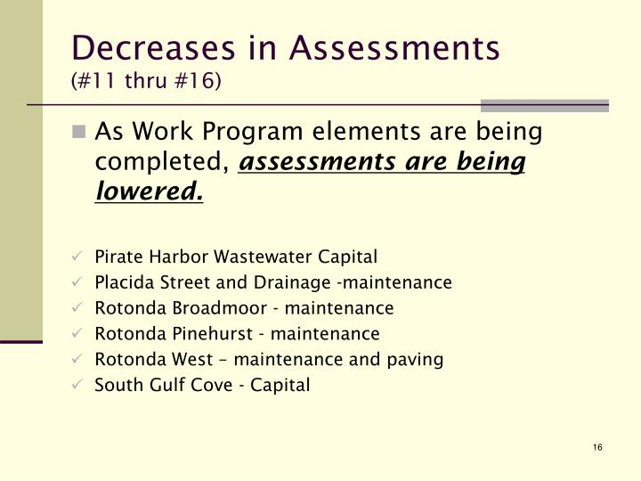 Decreases in Assessments