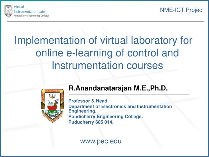 Implementation of virtual laboratory for online e-learning of control and Instrumentation courses