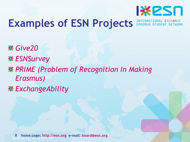 Examples of ESN Projects