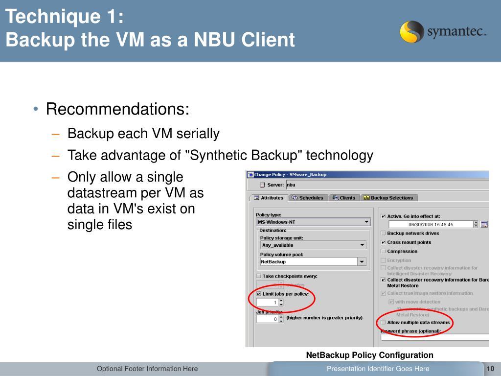 PPT - Non-Disruptive Backup of VMware Environments using