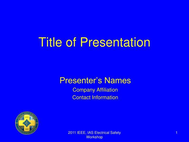 title of presentation n.
