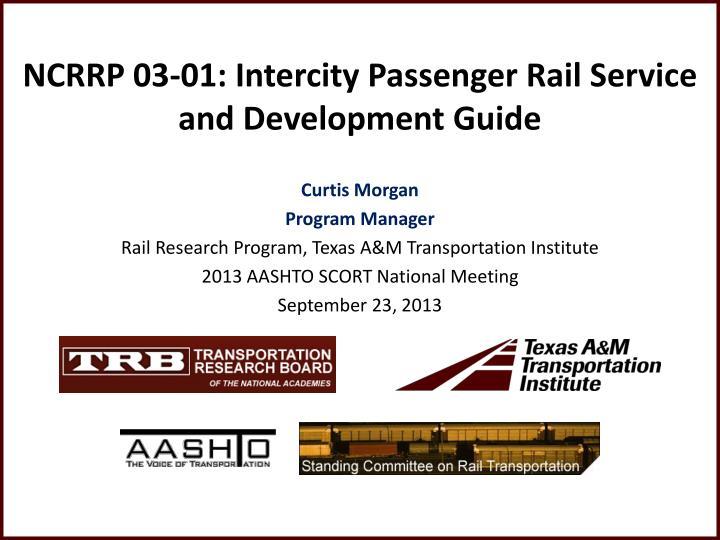 Ncrrp 03 01 intercity passenger rail service and development guide