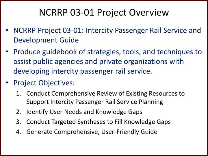Ncrrp 03 01 project overview
