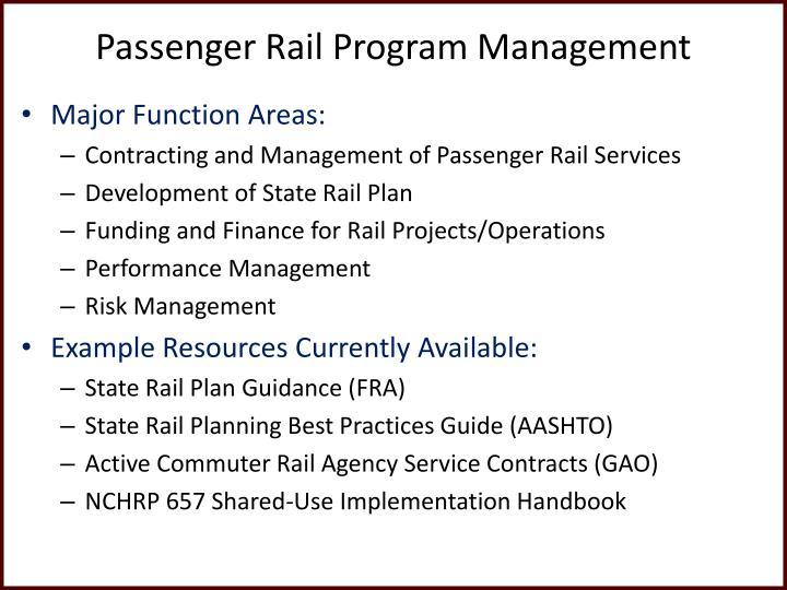 Passenger Rail Program Management