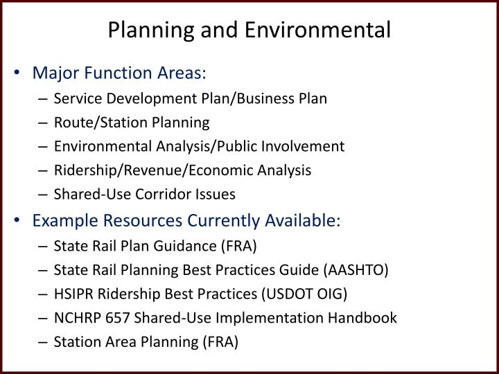 Planning and Environmental