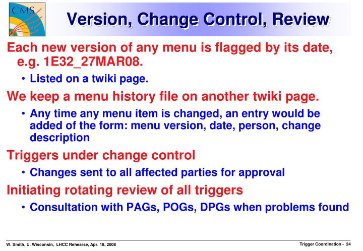 Version, Change Control, Review