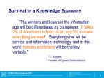 survival in a knowledge economy