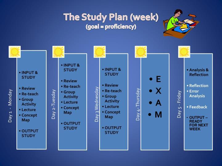 The Study Plan (week)