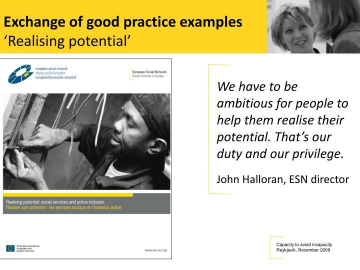 Exchange of good practice examples