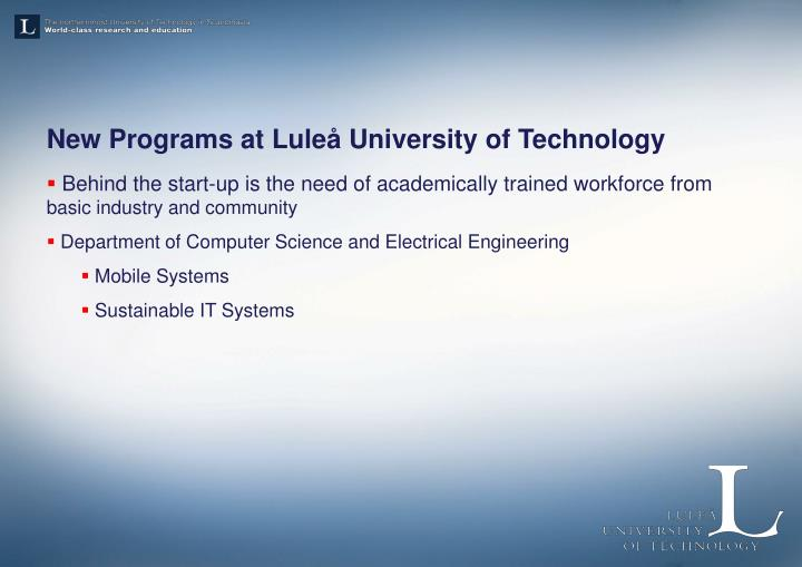 New Programs at Luleå University of Technology