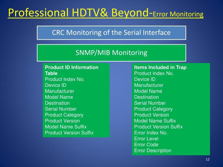 Professional HDTV& Beyond-