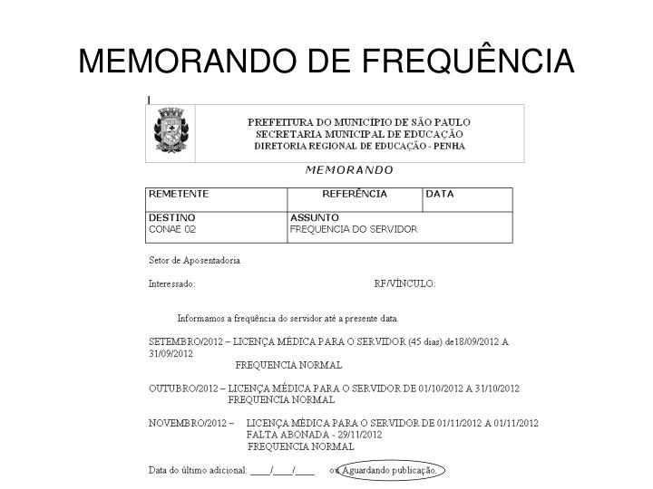 MEMORANDO DE FREQUÊNCIA