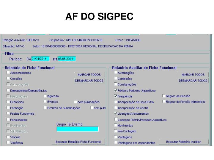 AF DO SIGPEC