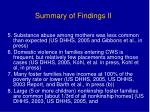 summary of findings ii