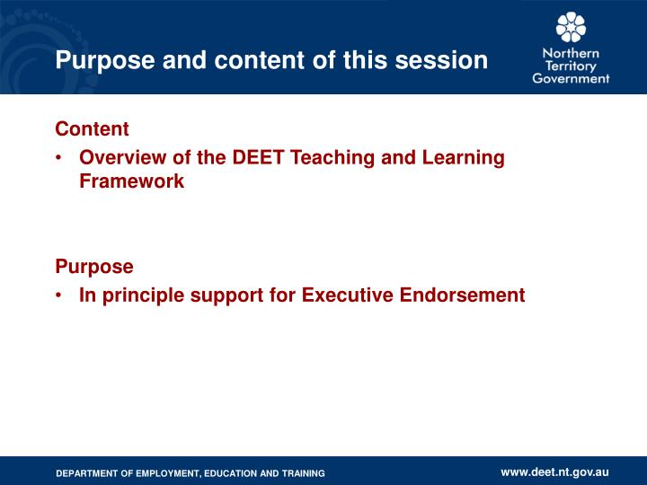 Purpose and content of this session