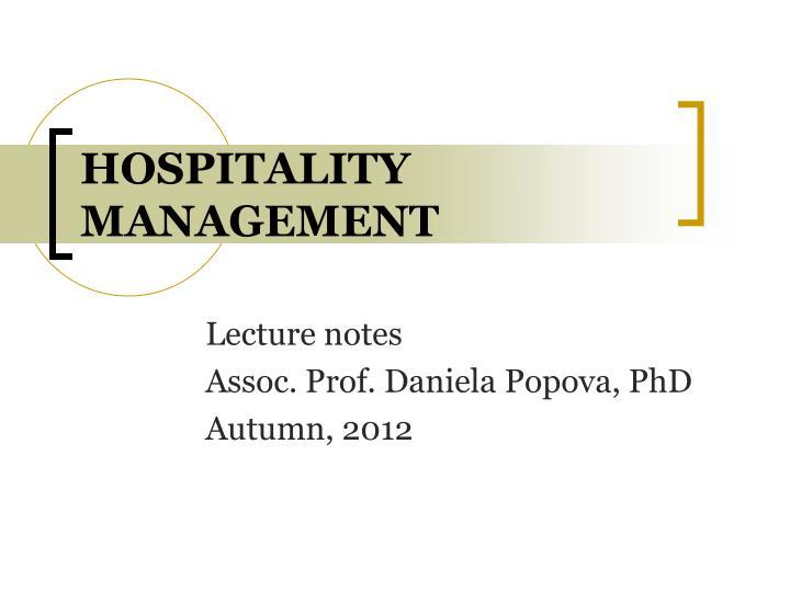 hospitality management n.