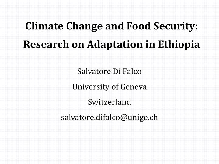 climate change and food security research on adaptation in ethiopia n.