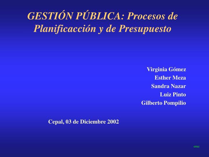 gesti n p blica procesos de planificacci n y de presupuesto n.