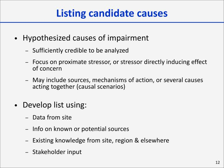 Listing candidate causes