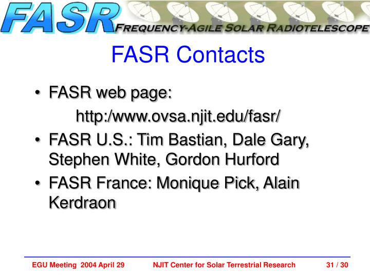 FASR Contacts
