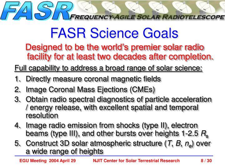 FASR Science Goals