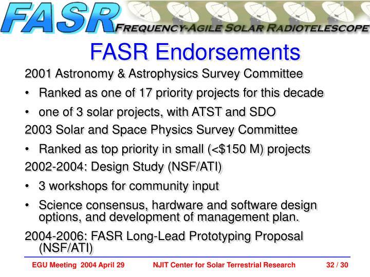 FASR Endorsements