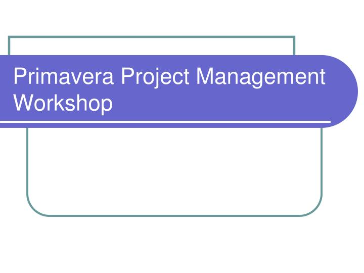 primavera project management workshop n.