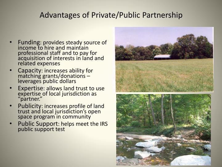 Advantages of Private/Public Partnership