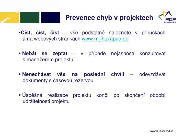 Prevence chyb v projektech