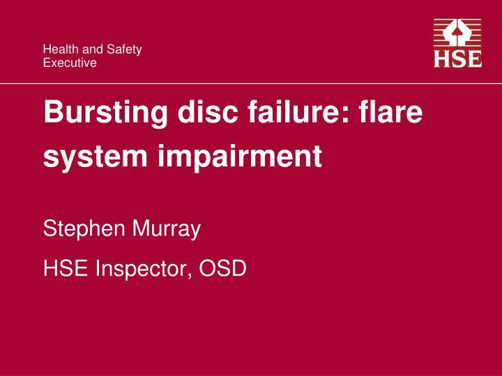 Bursting disc failure: flare system impairment