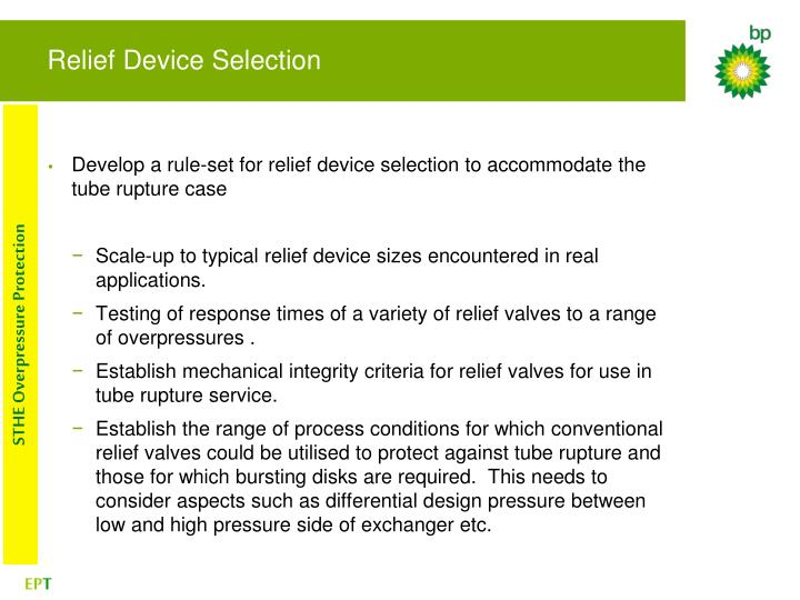 Relief Device Selection