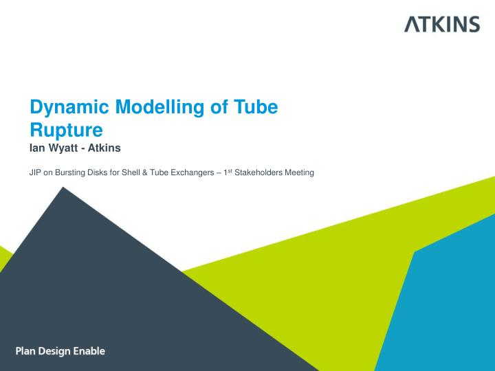 Dynamic Modelling of Tube Rupture
