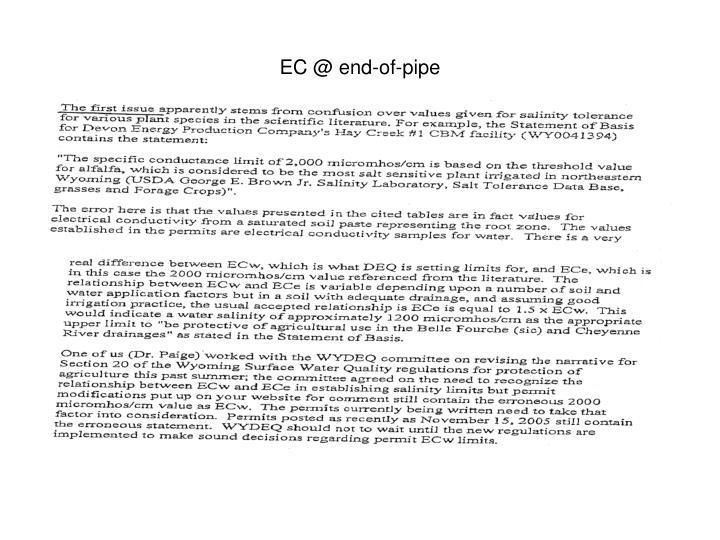 EC @ end-of-pipe