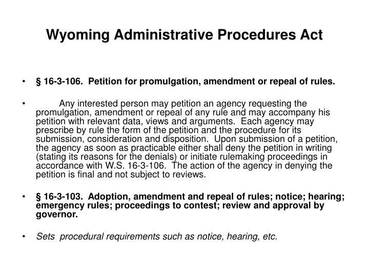Wyoming Administrative Procedures Act