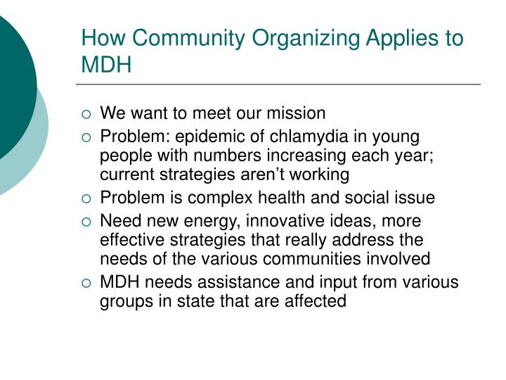 How Community Organizing Applies to MDH