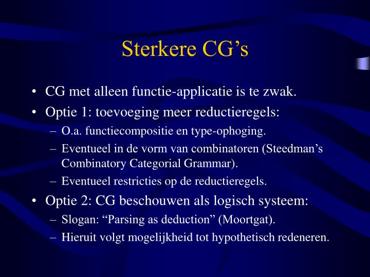 Sterkere CG's