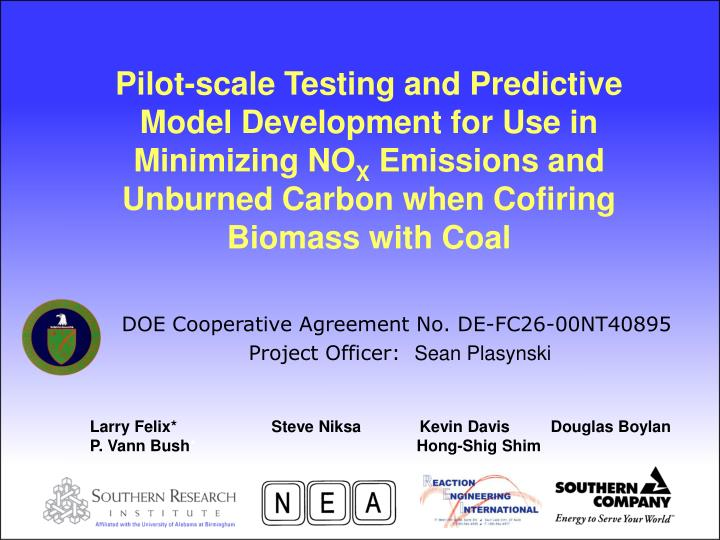 Pilot-scale Testing and Predictive Model Development for Use in Minimizing NO