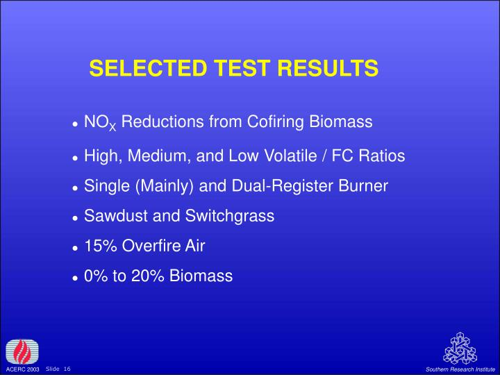 SELECTED TEST RESULTS