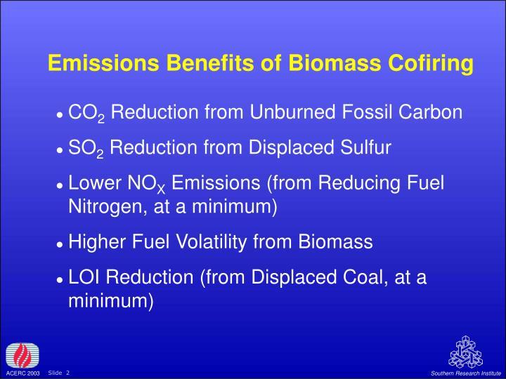 Emissions Benefits of Biomass Cofiring