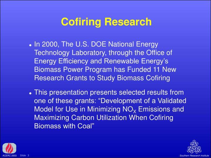 Cofiring Research