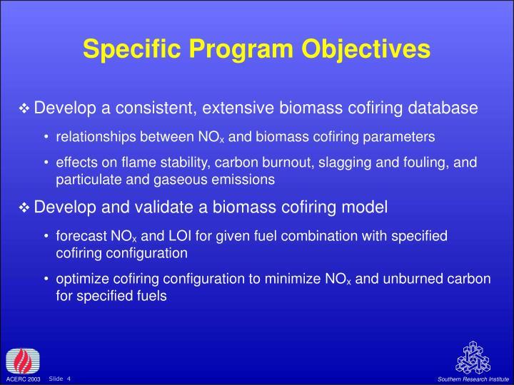 Specific Program Objectives