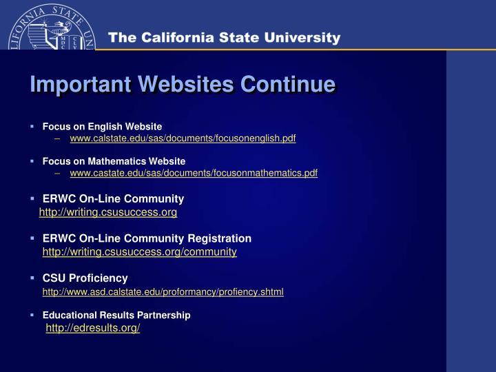 Important Websites Continue