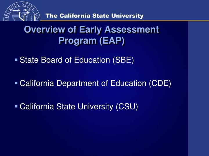 Overview of early assessment program eap