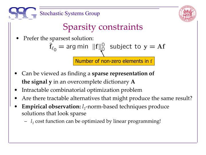 Sparsity constraints