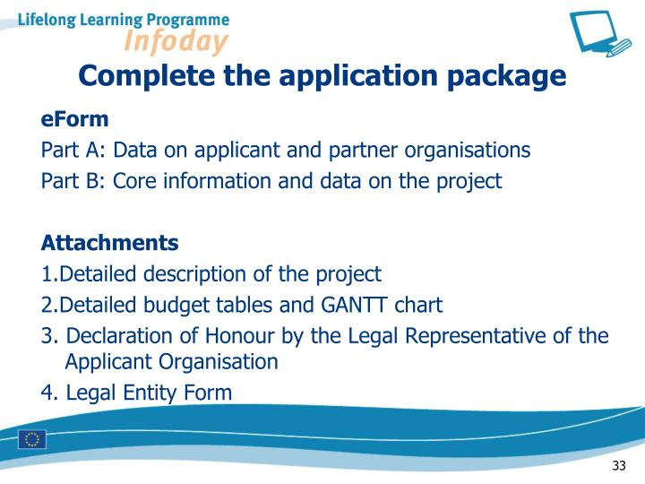 Complete the application package