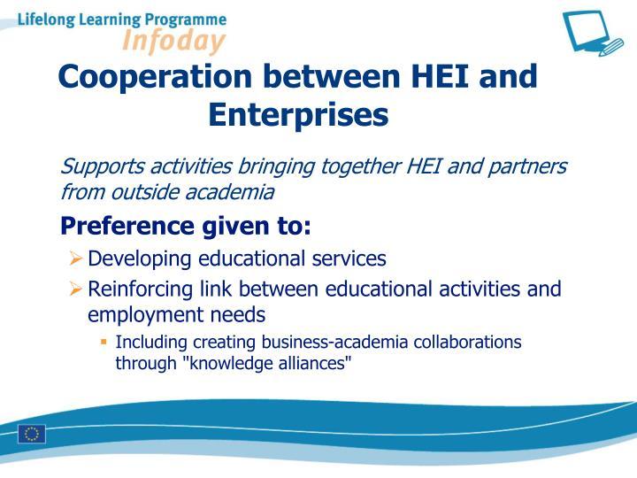 Cooperation between HEI and Enterprises