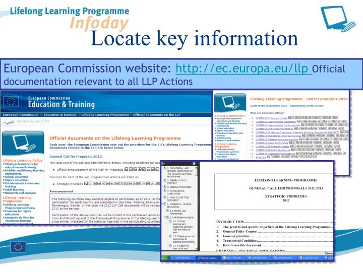 Locate key information