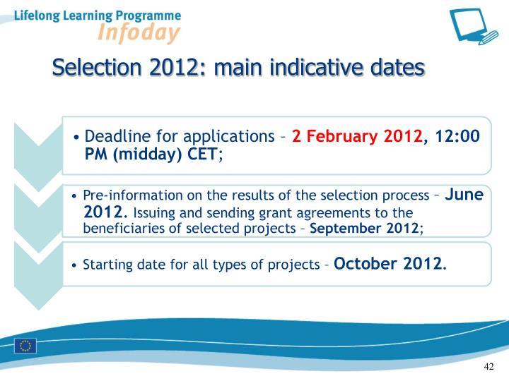 Selection 2012: main indicative dates